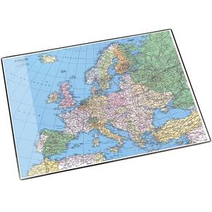 Läufer 45347 Landkarten-Schreibtischunterlage Europa, rutschfeste Schreibunterlage mit Europakarte, 40x53 cm, mit transparenter Seitentasche