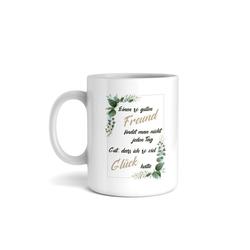 Kreative Feder Tasse, Tasse mit Motiv, Keramiktasse, fasst ca. 300ml, Kaffe, Tee, Bürotasse, Büro, Spruch, Glück, Freund, Freundschaft
