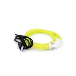 PRECORN Hunde-Halsband LED USB Halsband Hund Silikon Hundehalsband Leuchthalsband für Hunde aufladbar per USB (Größe S-L auf 18-65 cm individuell kürzbar), Silikon gelb