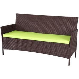 3-Sitzer Poly-Rattan Gartenbank Halden, Sitzbank, braun-meliert, Kissen grün