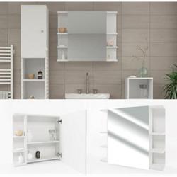 VICCO Spiegelschrank FYNN 80 x 64 cm Weiß - Spiegel Badspiegel Bad Wandspiegel