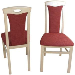 2 Esszimmerstühle Massivholz Esszimmerstuhl Stühle Farbe: Buche-Natur/Terracotta
