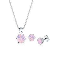 Elli Schmuckset Basic mit Kristall rund rosa