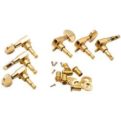 vhbw Stimmwirbel Mechaniken Pegs 3R3L passend für Gitarre, Akustikgitarre, 10mm Aufnahme gold - Gitarrenwirbel, Stimmmechanik