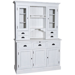 Casa Padrino Landhausstil Küchenschrank Antik Weiß 137 x 50 x H. 197 cm - 2 Teiliger Küchenschrank mit 5 Türen und 7 Schubladen