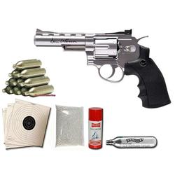 Dan Wesson 4 Zoll CO2 Softairrevolver 6mm chrom silber Sparset 4