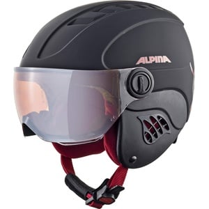 ALPINA CARAT LE Visor HM Skihelm, Kinder, black-red matt, 48-52