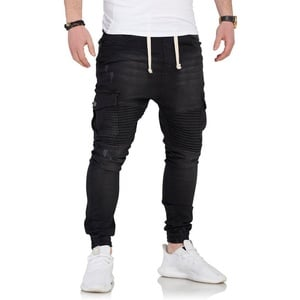 behype Slim-fit-Jeans SAMY mit Biker-Steppung schwarz 36