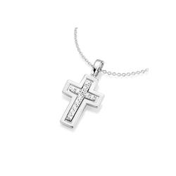 Smart Jewel Kreuzkette Kreuz Behang und Zirkonia, Silber 925