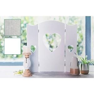60 cm Wandschirm Weiss Fensterdeko Shabby Fensterladen Deko Herz Paravent Landha