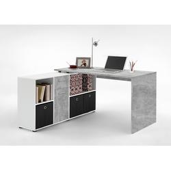 Schreibtisch in weiß mit Abs. in Betonoptik, Schreibtischplatte Maße: (Tisch) B/H/T ca. 136/75/68 cm, Maße: (Regal)B/H/T ca. 137/71/33 cm
