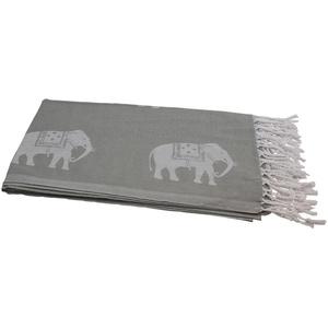 my Hamam Hamamtücher Hamamtuch grau weiß, mit kleinen Elefanten (1-St), mit Fransen
