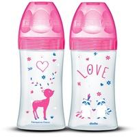Dodie - Set mit 2 Babyflaschen + 270ml Rosa 0-6 Monate, Flacher Sauger Flussrate 2
