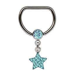 Adelia´s Brustwarzenpiercing Brustpiercing, Titan Brustpiercing D-Ring + 5 mm Klemm-Kugel mit Kette + Stern blau