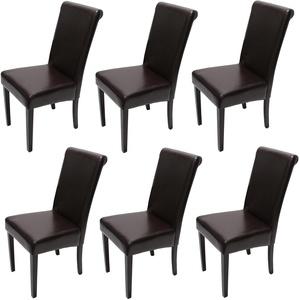 6x Esszimmerstuhl Stuhl Küchenstuhl Novara II, Leder ~ braun, dunkle Beine