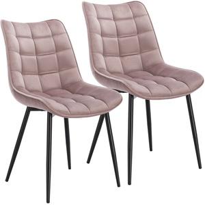 2er Set Esszimmerstühle Küchenstühle Sitzfläche aus Samt Metallbeine BH142rs-2