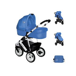 Lorelli Kombi-Kinderwagen Kinderwagen 2 in 1 Monza, Luftreifen, Wickeltasche, Babywanne, Sportsitz blau