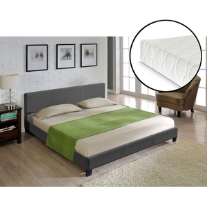 Corium Textil Doppelbett + Matratze Polsterbett 140x200cm Bett Lattenrost Stoff