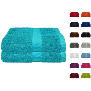2er Pack Frottier Saunatuch, Saunatücher Set 80x200 cm 100% Baumwolle in 15 modernen Farben Türkis