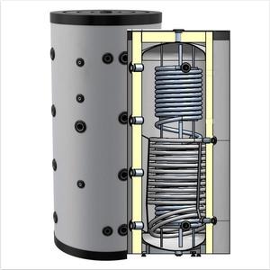 Hygienespeicher, Boiler mit Edelstahlwellrohr zur legionellenfreien Trinkwasseraufbereitung mit 1 zusätzlichen Wärmetauscher, Pufferspeicher, Trinkwasserspeicher 1000 Liter