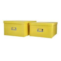 Aufbewahrungsbox, 2er-Set ¦ gelb ¦ Metall, Papier