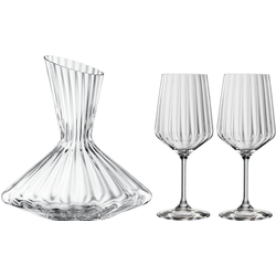 SPIEGELAU Dekanter Lifestyle, (Set, 3-tlg), Kristallglas, (1x Dekanter, 2x Rotweinglas)