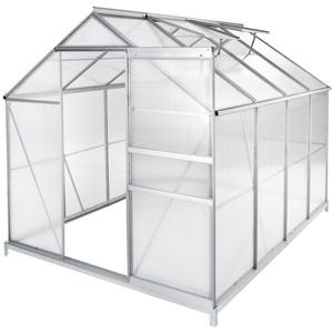 tectake Gewächshaus Gewächshaus mit Fundament, 4.0 mm Wandstärke, Fundament, Wandverkleidung, Dachfenster, Schiebetür, UV resistent