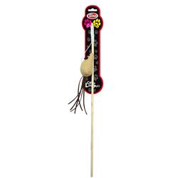 Katzenspielzeug ROD-WOOD-3 Katzenangel 40cm mit beige Maus