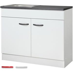 Spülenschrank STEFFEN - Modulares Möbelystem - 100 cm breit, 40 cm tief - Weiß
