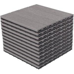 EUGAD Terrassenfliesen, Balkonfliesen, 30x30 cm klicksystem, 11 Stücke für 1m² Hellgrau grau