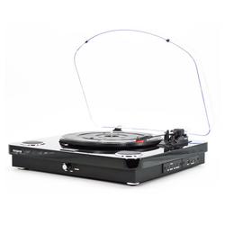 Aiwa Multifunktionsspieler (AIWA GBTUR-120 Plattenspieler Bluetooth Radio Turntable Schallplatten) schwarz
