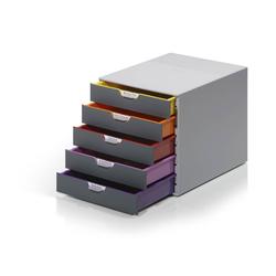 DURABLE Schubladenbox, Durable 760527 Schubladenbox A4 (Varicolor) 5 Fächer, mit Etiketten zur Beschriftung, mehrfarbig