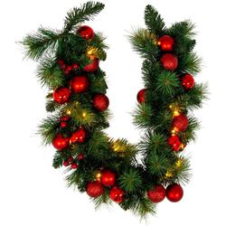 näve LED-Lichterkette LED-Weihnachtslichterkette mit Dekoration l: 100cm - rot, 20-flammig, Timer