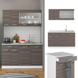 VICCO Küchenzeile SINGLE Einbauküche 140 cm Küche Edelgrau Anthrazit R-LINE