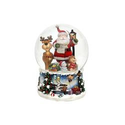 SIGRO Schneekugel Schneekugel XXL Santa mit lustigem Elch