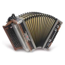 Strasser 4/III Hoamat Harmonika G-C-F-B, mit X-Bass, Edelnuss
