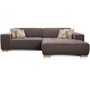 """Cavadore Ecksofa """"Zappo"""" mit Federkern und XXL Longchair / XXL Sofa L-Form mit tiefen Sitzflächen / Modernes Design / 293 x 78 x 172 cm / Braun"""
