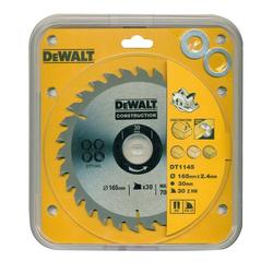 DeWalt Kreissägeblatt (1-St), Handkreissägeblatt DT1145 Holz Kreissäge Blatt Ø 165mm Sägeblatt Werkzeug