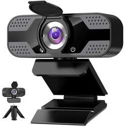IVSO Webcam with Microphone for Desktop,1080P HD USB Computer Cameras mit Privacy Shutter & Webcam Stativ, Webcam (3D noise reduction bidirectional microphone, Streaming Webcam with Flexible Rotable Wide Angle Webcam for PC Zoom Video/Gaming/Laptop)