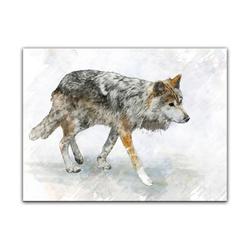 Bilderdepot24 Leinwandbild, Leinwandbild - Aquarell - Wolf 70 cm x 50 cm