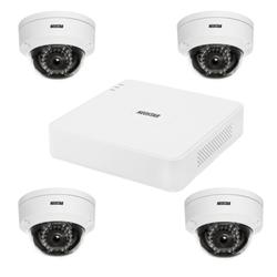 Netzwerk-IP Videoüberwachung Set für Außenbereich 4xIR Netzwerk-Domekamera, 4 Kanal IP Netzwerk Rekorder mit PoE NVR -IS-IPKS41