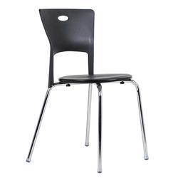 Schwarze Stühle aus Kunststoff Schwarz (4er Set)