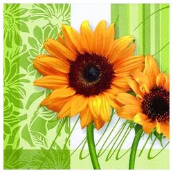 Linoows Papierserviette 20 Servietten, Sonnenblumen, Sonnenblumengrün,, Motiv Sonnenblumen, Sonnenblumengrün, Sommerzeit