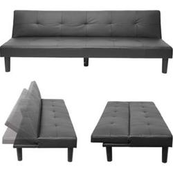 3er-Sofa MCW-G11, Couch Schlafsofa Gästebett Bettsofa Klappsofa, Schlaffunktion 195cm ~ Kunstleder, schwarz