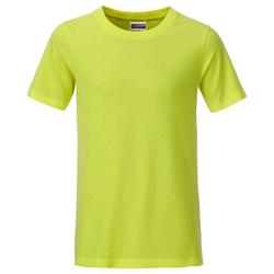 T-Shirt für Jungen | James & Nicholson acid-yellow 110/116 (S)