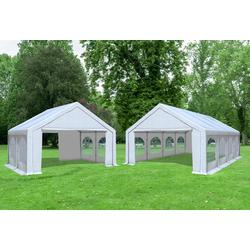5x8 m 2in1 Kombizelt mit extra 5x4 m Dach PVC weiß