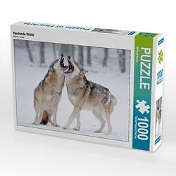Heulende Wölfe Lege-Größe 64 x 48 cm Foto-Puzzle Bild von Wilfried Martin Puzzle