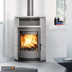 Fireplace Lyon Eckkaminofen Stahl Gussgrau / Speckstein / A+