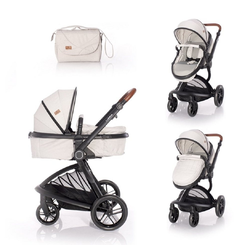 Lorelli Kombi-Kinderwagen Kombikinderwagen Lumina 2 in 1, Babywanne Sportsitz drehbar in einem grau