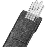 GEFU Trinkhalm 18cm klar FUTURE, 4 Stück in Filztasche, (5, 5-tlg) grau